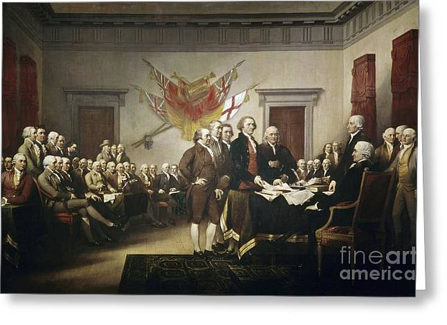 Second Continental Congress Greeting Cards - Signing the Declaration of Independence Greeting Card by John Trumbull