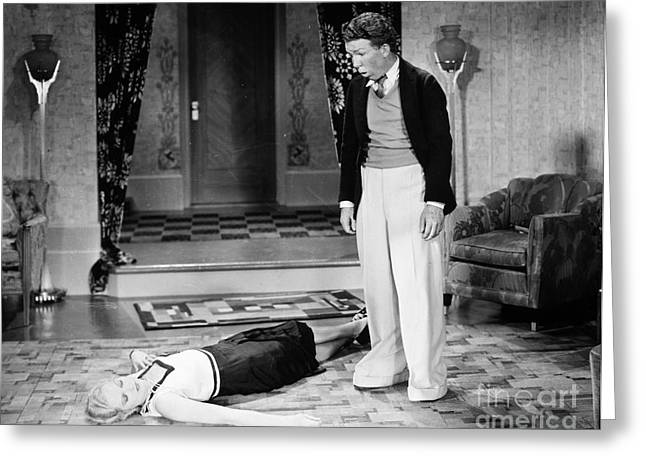 Interior Scene Greeting Cards - Silent Film Still: Fainting Greeting Card by Granger