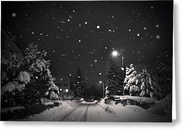 Winter Night Greeting Cards - Silent Night Greeting Card by Dorit Fuhg