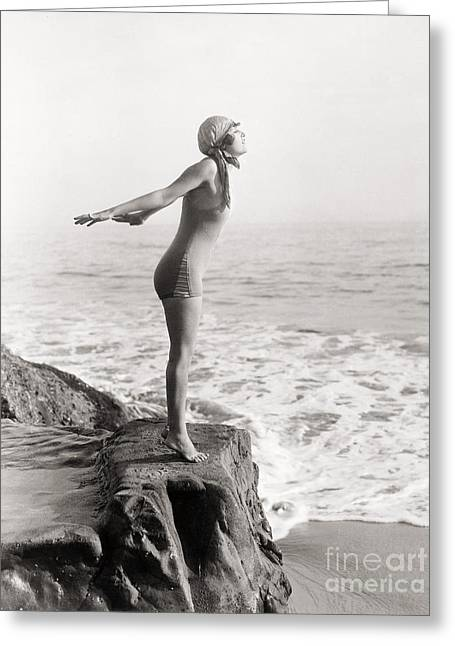 Unidentified Greeting Cards - Silent Still: Bather Greeting Card by Granger
