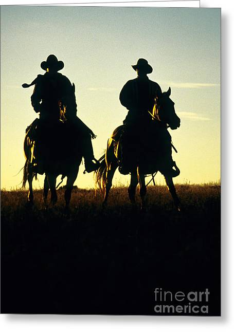 Working Cowboy Photographs Greeting Cards - Silhouetted Cowboys Greeting Card by Inga Spence