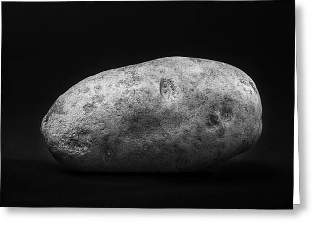 Single Russet Potato In Black And White Greeting Card by Donald Erickson