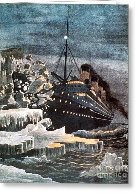 Steamboat Greeting Cards - Sinking Of The Titanic Greeting Card by Granger