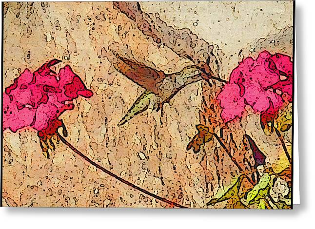 Red Geraniums Mixed Media Greeting Cards - Sippin Nectar Greeting Card by Kathy Franklin