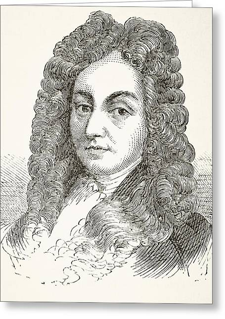 Christopher Drawings Greeting Cards - Sir Christopher Wren 1632 To 1723 Greeting Card by Vintage Design Pics