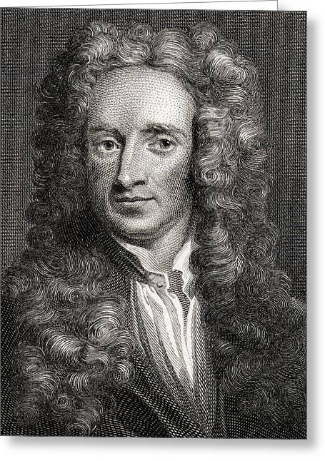 Isaac Newton Greeting Cards - Sir Isaac Newton, 1642-1727. English Greeting Card by Ken Welsh