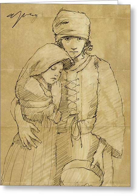 Sisters Drawings Greeting Cards - Sister Greeting Card by H James Hoff