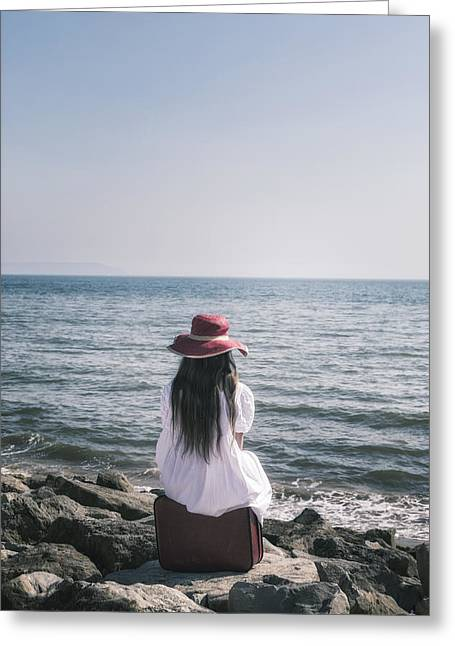 White Dress Greeting Cards - Sitting At The Sea Greeting Card by Joana Kruse