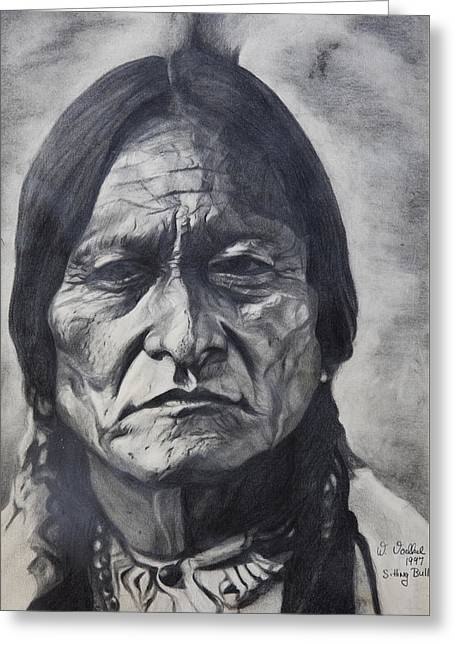 Calvary Greeting Cards - Sitting Bull Greeting Card by Waldtraut  Voelkel