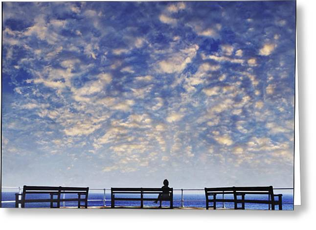 Grey Clouds Greeting Cards - Sitting on the Promenade Greeting Card by Adrian Campfield