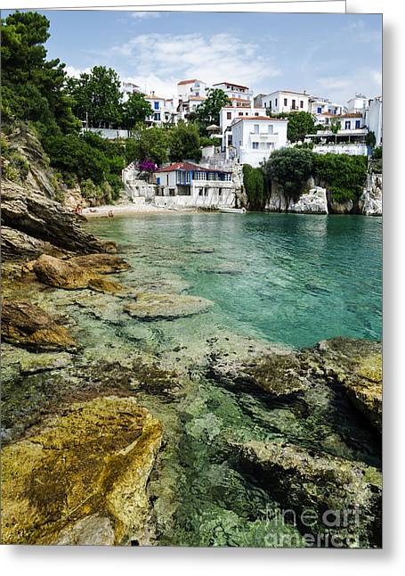 View Pyrography Greeting Cards - Skiathos Island Greece Greeting Card by Jelena Jovanovic