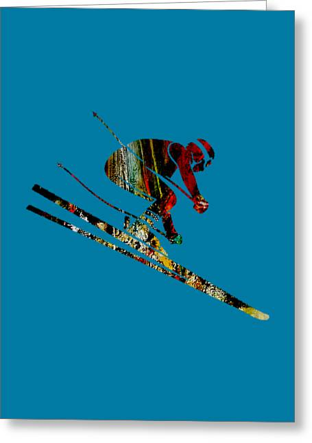 Ski Mixed Media Greeting Cards - Skiing Collection Greeting Card by Marvin Blaine