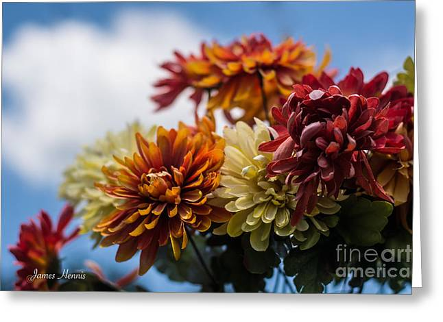 Blue Flowers Tapestries - Textiles Greeting Cards - Sky Flowers Greeting Card by James Hennis