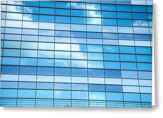 Geometric Image Greeting Cards - Sky Reflections on an Office Building Greeting Card by Leonardo Patrizi