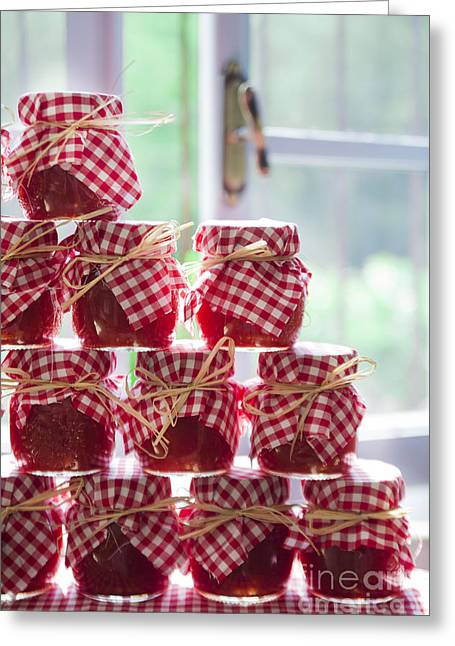 Reserve Greeting Cards - Small jars of tomato sauce  Greeting Card by Marco Guidi