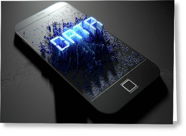 Smart Phone Emanating Data Greeting Card by Allan Swart