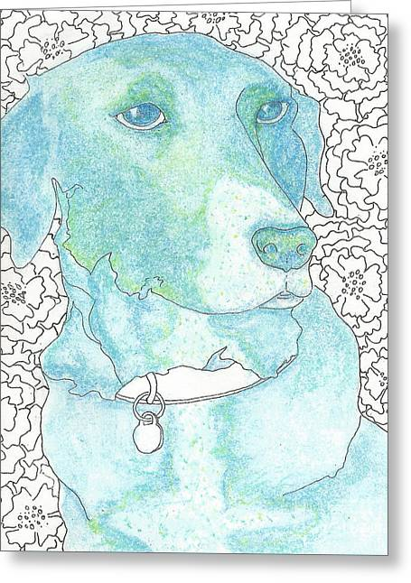 Puppies Mixed Media Greeting Cards - Smell the Flowers Greeting Card by B Campbell