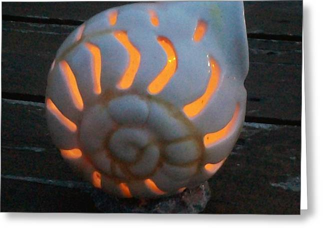 Glowing Ceramics Greeting Cards - Snail Luminary Greeting Card by Susan Bornstein