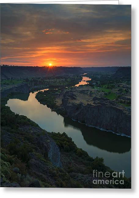 Snake River Greeting Cards - Snake River Sunset Greeting Card by Mike Dawson
