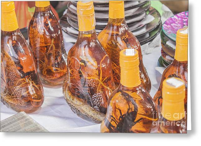 Wine-glass Greeting Cards - Snake wine Greeting Card by Daniel Ronneberg