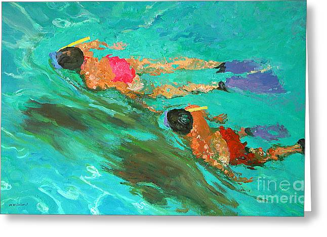 Swimmers Paintings Greeting Cards - Snorkelers  Greeting Card by William Ireland