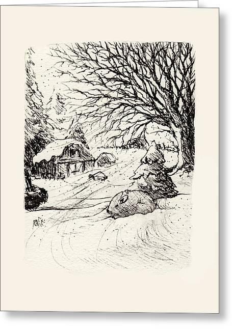 Snowed Trees Drawings Greeting Cards - Snow Bunny Greeting Card by Rachel Christine Nowicki