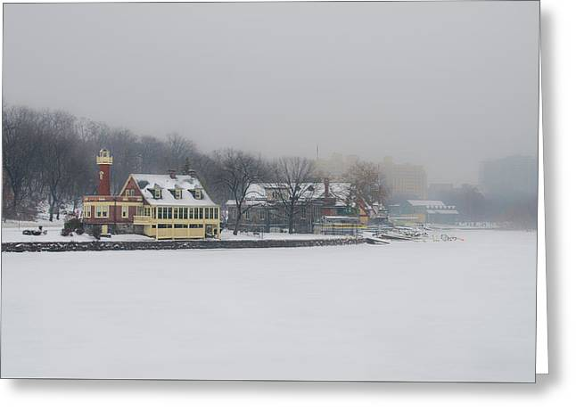 Snow Falling On Boathouse Row Greeting Card by Bill Cannon