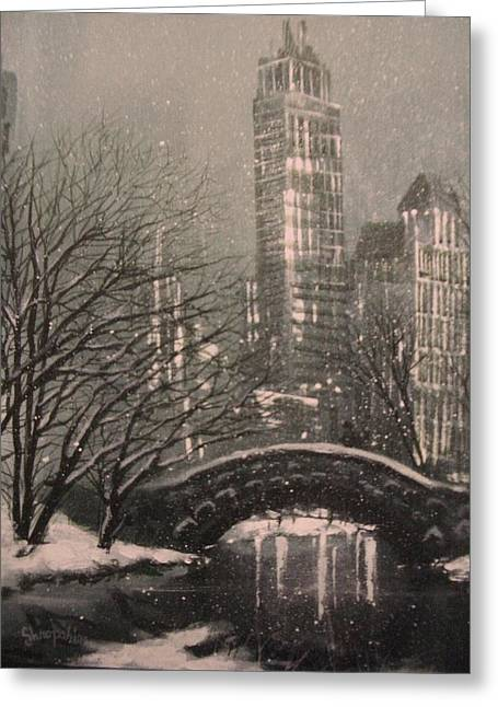 Park Scene Paintings Greeting Cards - Snow in Central Park Greeting Card by Tom Shropshire