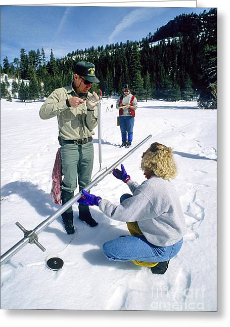 Field Workers Greeting Cards - Snow Survey Greeting Card by Inga Spence