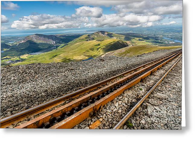 Gauge Greeting Cards - Snowdon Mountain Railway Greeting Card by Adrian Evans