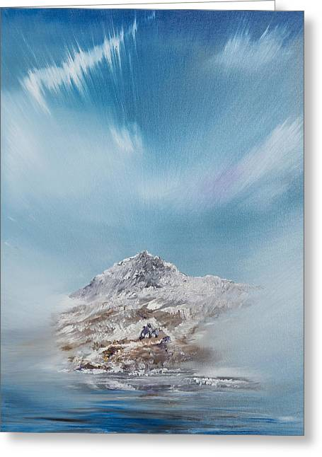 Snow Capped Paintings Greeting Cards - Snowdon Greeting Card by Vincent Alexander Booth