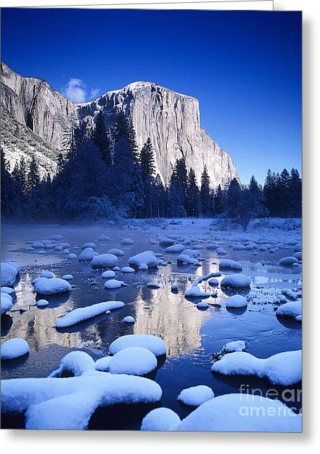 Beautiful Creek Greeting Cards - Snowy Yosemite Valley Greeting Card by Michael Howell - Printscapes