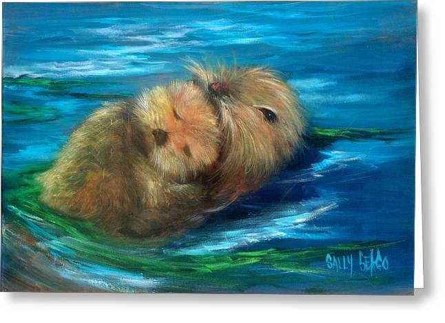 Snuggling Greeting Card by Sally Seago