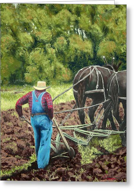 Oregon Pastels Greeting Cards - Sod Buster Greeting Card by Carl Capps