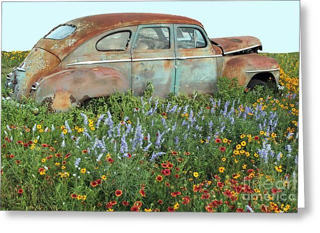 Rusty Car Greeting Cards - Softly Fading Away Greeting Card by Joe Jake Pratt