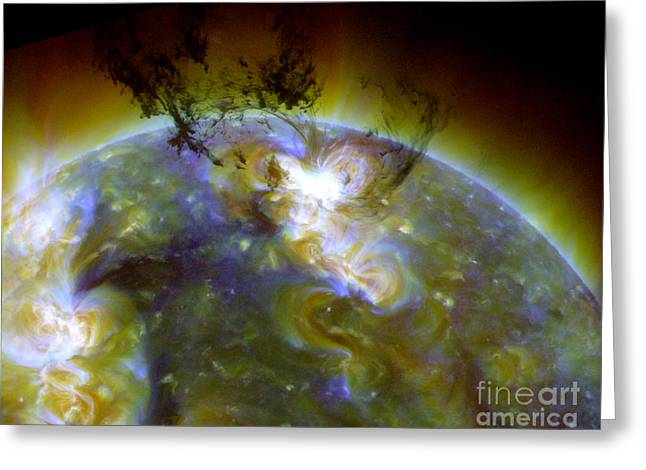 Ejection Greeting Cards - Solar Eruption Greeting Card by Science Source