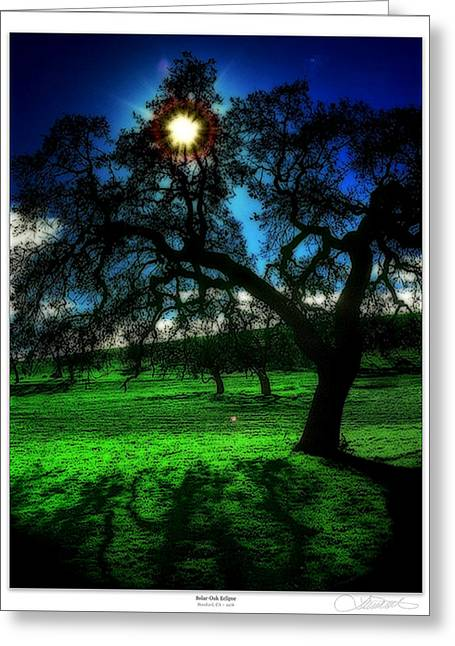 Matre Greeting Cards - Solar-Oak Eclipse Greeting Card by Lar Matre