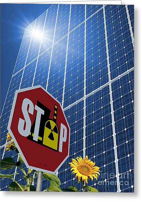 Non-polluting Greeting Cards - Solar Power As Alternative To Nuclear Greeting Card by Detlev van Ravenswaay