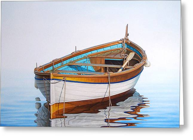 Fishing Boats Greeting Cards - Solitary Boat on the Sea Greeting Card by Horacio Cardozo