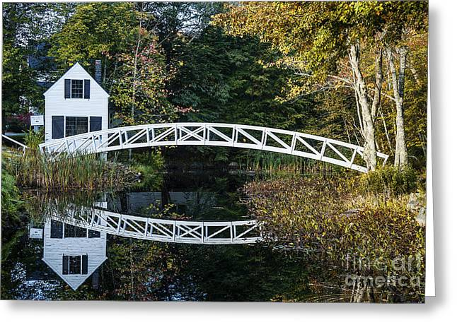 New England Village Greeting Cards - Somesville Footbridge Greeting Card by John Greim