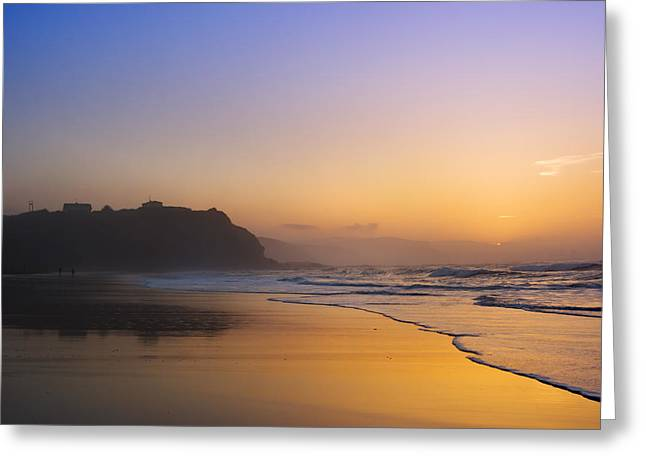 Pais Vasco Greeting Cards - Sopelana beach at sunset Greeting Card by Mikel Martinez de Osaba