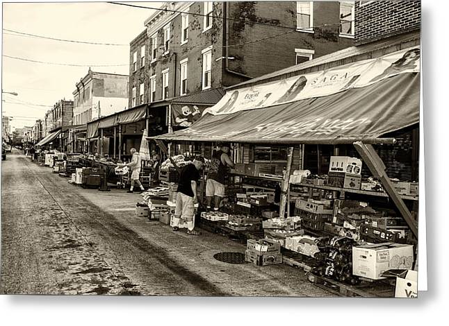 South Philly - Italian Market Greeting Card by Bill Cannon