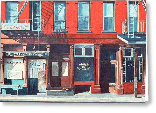 Fire Escapes Greeting Cards - South Street Greeting Card by Anthony Butera