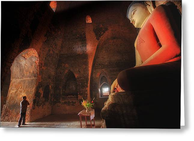 Recently Sold -  - Candle Stand Greeting Cards - Southeast Asian man praying  Greeting Card by Anek Suwannaphoom