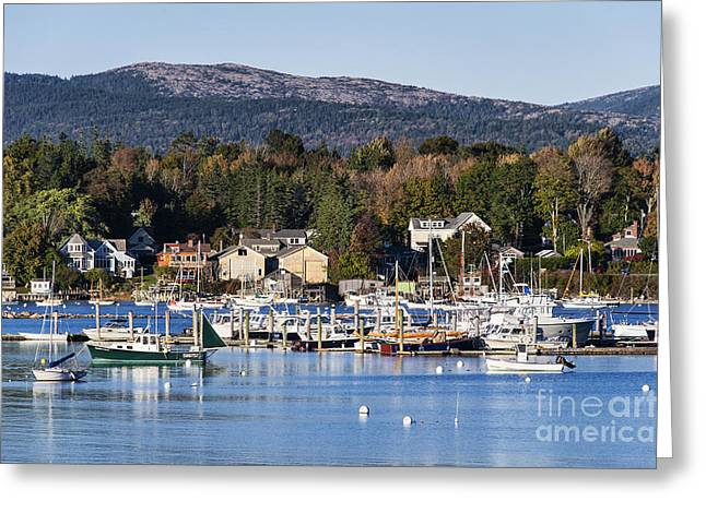 New England Village Greeting Cards - Southwest Harbor Maine Greeting Card by John Greim