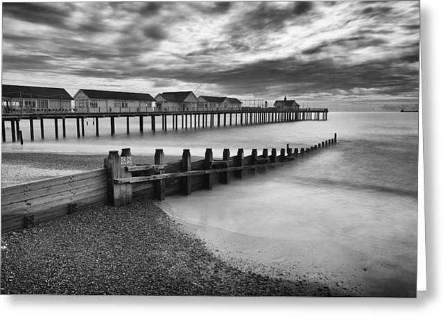 Wooden Building Greeting Cards - Southwold Pier Greeting Card by Ian Merton