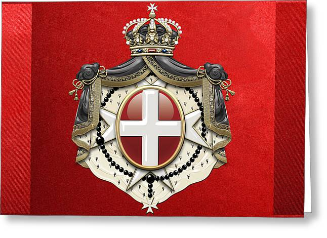 Sovereign Greeting Cards - Sovereign Military Order of Malta Coat of Arms on Red Canvas Greeting Card by Serge Averbukh