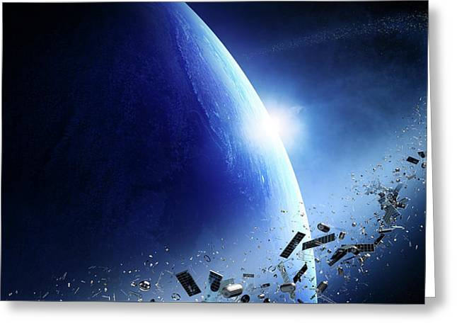 Space Junk Orbiting Earth Greeting Card by Johan Swanepoel