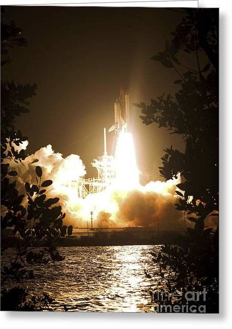 Blastoff Greeting Cards - Space Shuttle Endeavour Liftoff Greeting Card by Stocktrek Images
