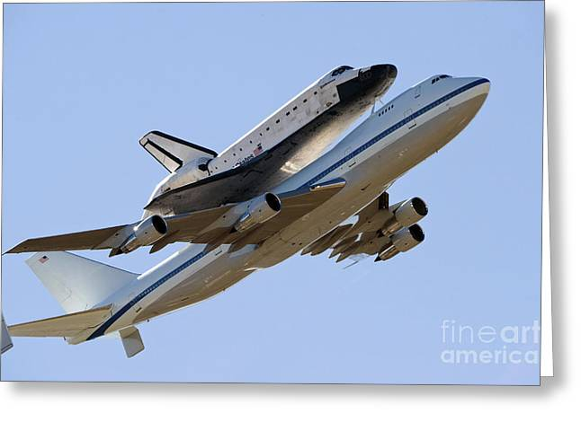 747 Greeting Cards - Space Shuttle Endeavour Mounted Greeting Card by Stocktrek Images